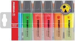 Markeerstift Stabilo Boss Original plastic etui van 6 stuks: geel, groen, oranje, roze, blauw en rood