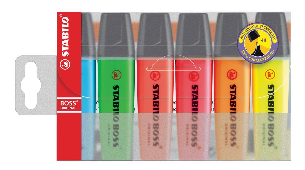 STABILO BOSS ORIGINAL markeerstift, etui van 6 stuks in geassorteerde kleuren