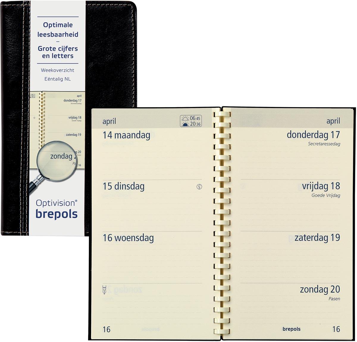 Brepols Agenda 9x16 7d2p Optivision NL zwart (15.717.302.01.2.00)