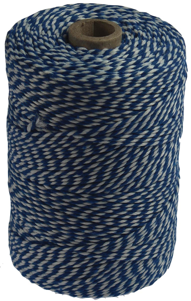 Katoentouw, blauw-wit, klos van 200 g, ongeveer 200 m