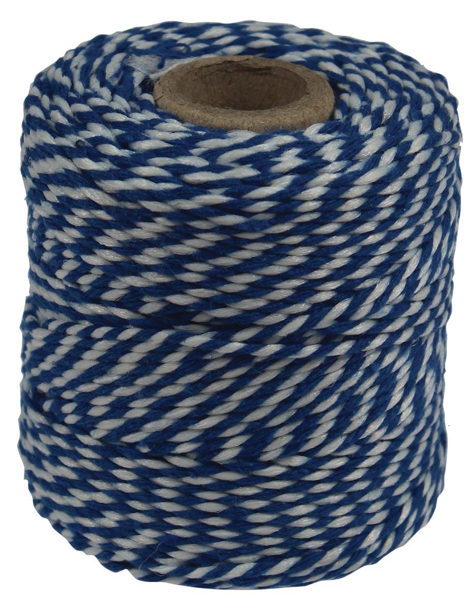 Katoentouw, blauw-wit, klos van 50 g, ongeveer 45 m