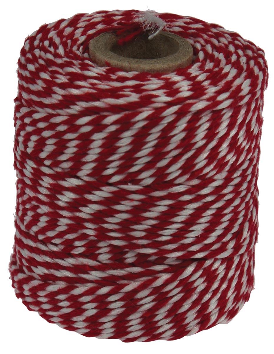 Katoentouw, rood-wit, klos van 50 g, ongeveer 45 m