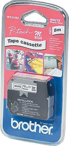 Brother M tape voor P-Touch 12 mm, gelamineerd, zwart op wit