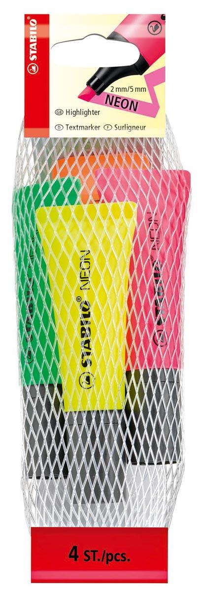 STABILO NEON markeerstift, etui van 4 stuks in geassorteerde kleuren