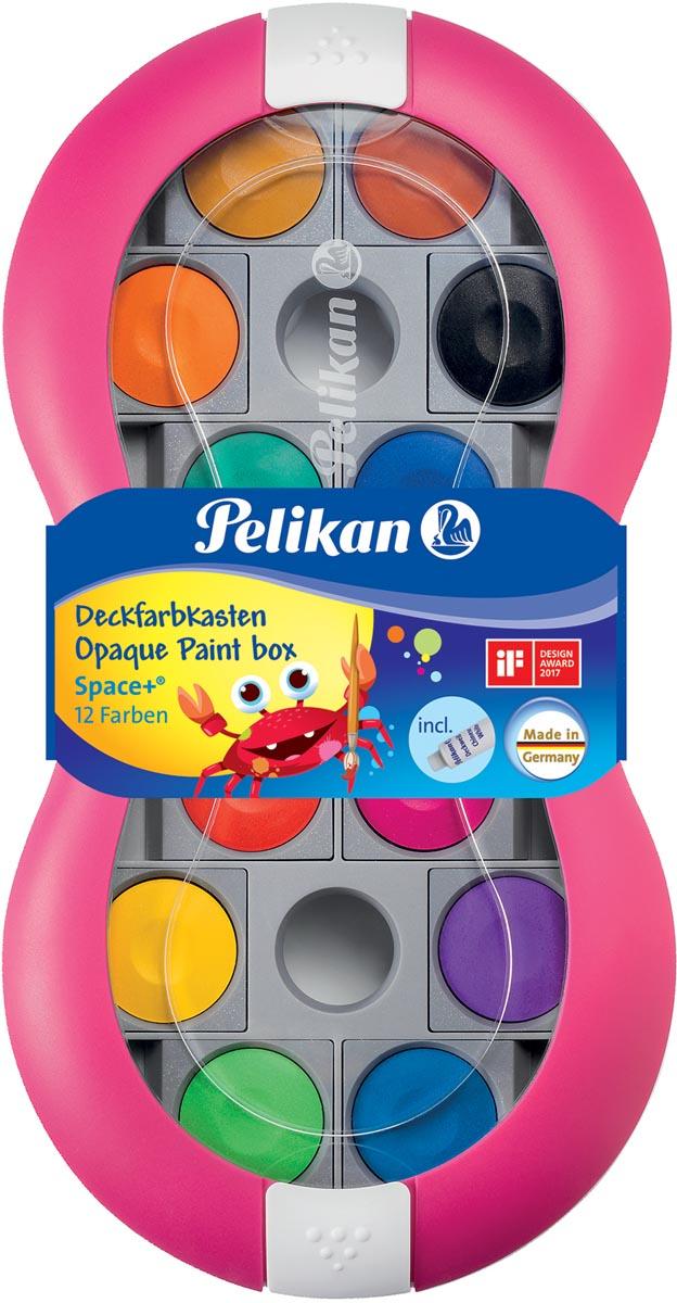 Pelikan verfdoos Space, 12 napjes in geassorteerde kleuren + tube wit, magenta