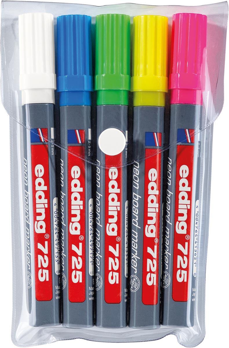 Edding neon boardmarker 725, in geassorteerde kleuren, etui van 5 stuks