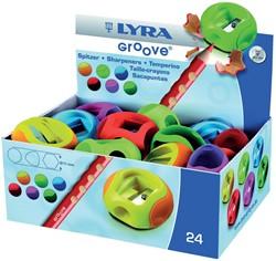 Lyra Groove potloodslijper, doos met 24 stuks in geassorteerde kleuren