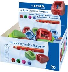 Lyra Groove Triple 1 potloodslijper, doos met 20 stuks in geassorteerde kleuren