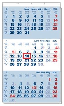 3-maand kalender Benelux 2017