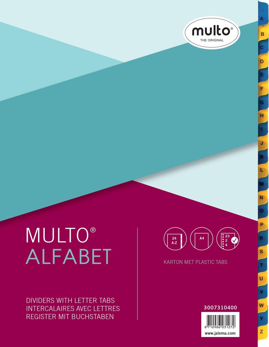 Multo tabbladen, voor ft A4, 23-gaatsperoforatie, uit karton, 24 tabs, van A-Z, geel/blauw