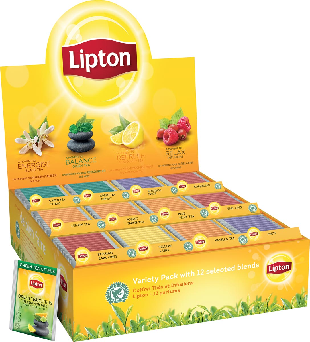 Lipton Variety Pack, 12 smaken, display van 180 zakjes