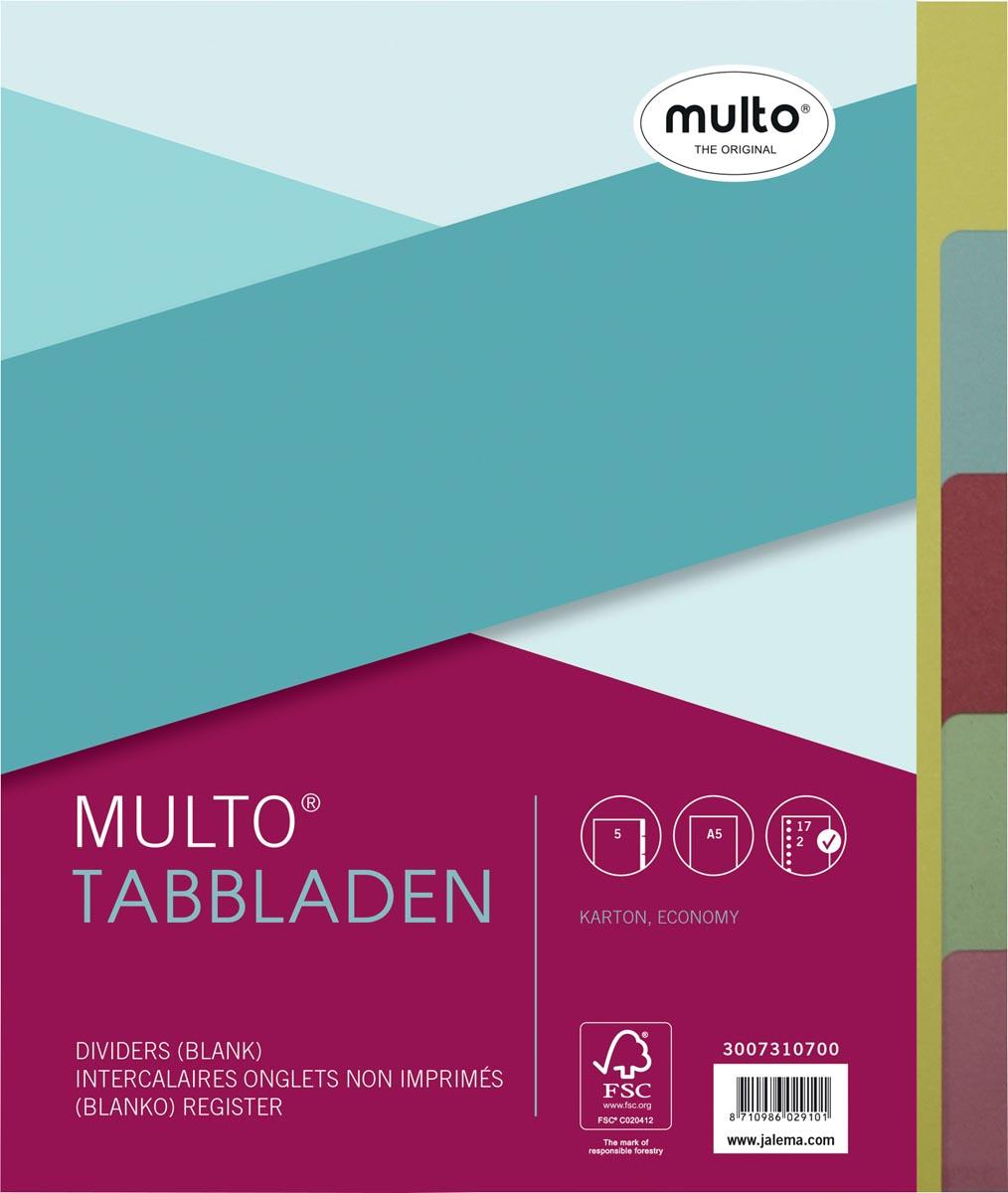 Multo tabbladen ft A5, 5-delig, 17-gaatsperforatie, karton van 250 g/m�