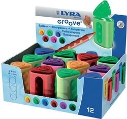 Lyra Groove potloodslijper, doos met 12 stuks in geassorteerde kleuren