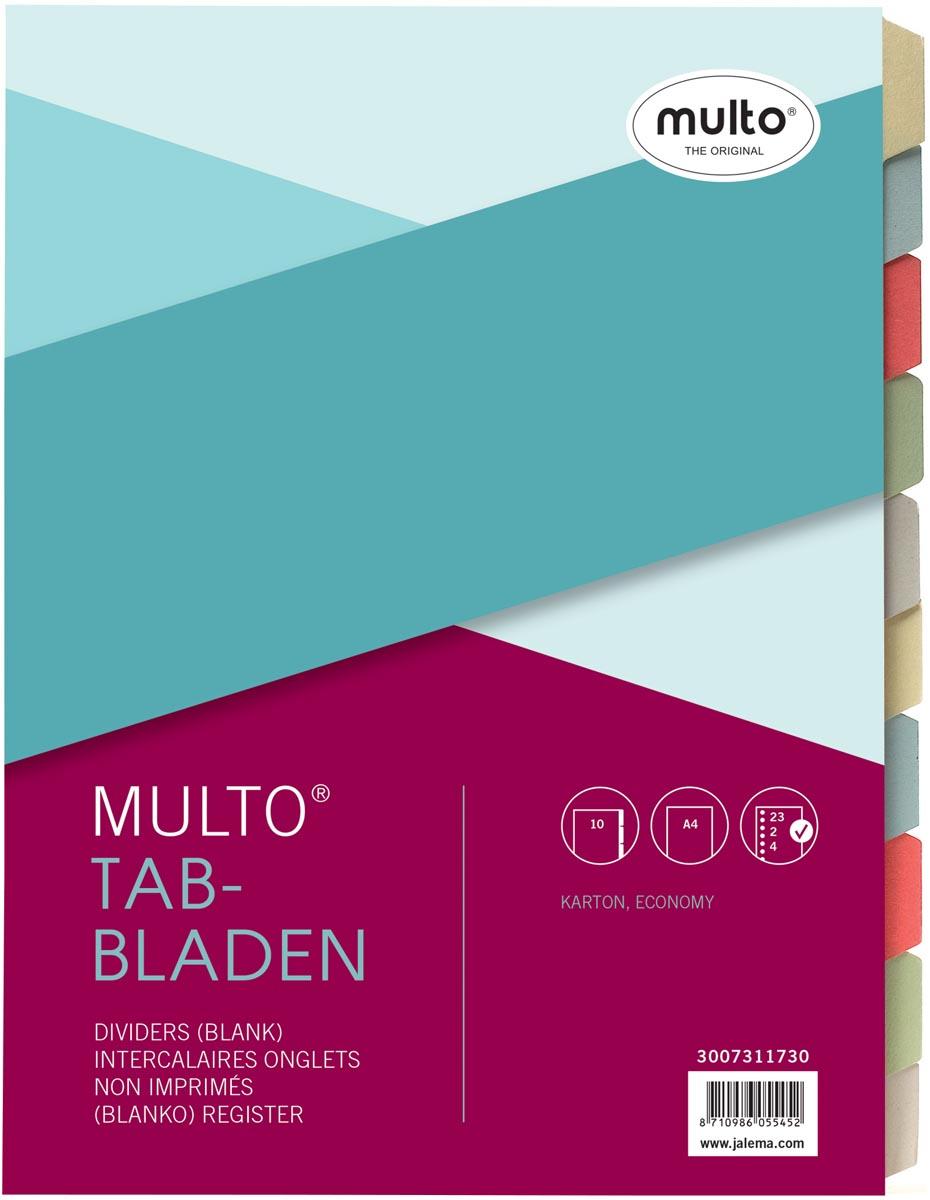 Jalema Multo Economy tabbladen ft A4, 2-, 4- en 23 gaatsperforatie, geassorteerde kleuren per set