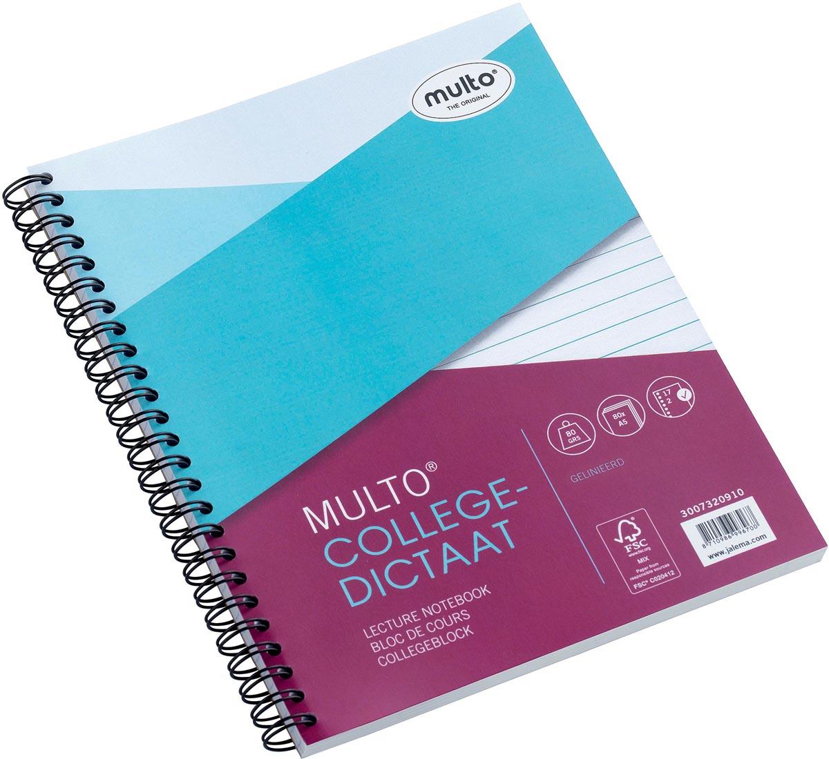 Collegeblok Multo FSC 17-rings gelinieerd