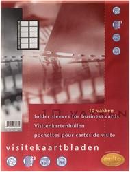 Multo geperforeerde showtas voor visitekaarten ft A4, 10 vakken, pak van 10 stuks