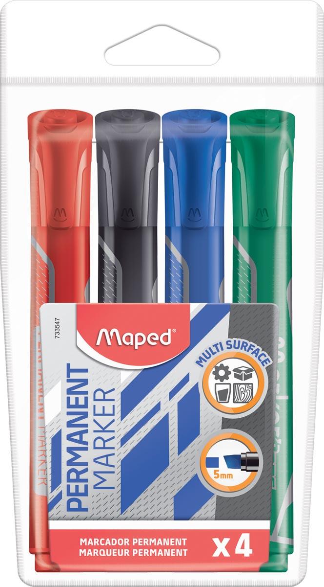 Maped permanent marker Jumbo, beitelvormige punt, etui van 4 stuks in geassorteerde kleuren