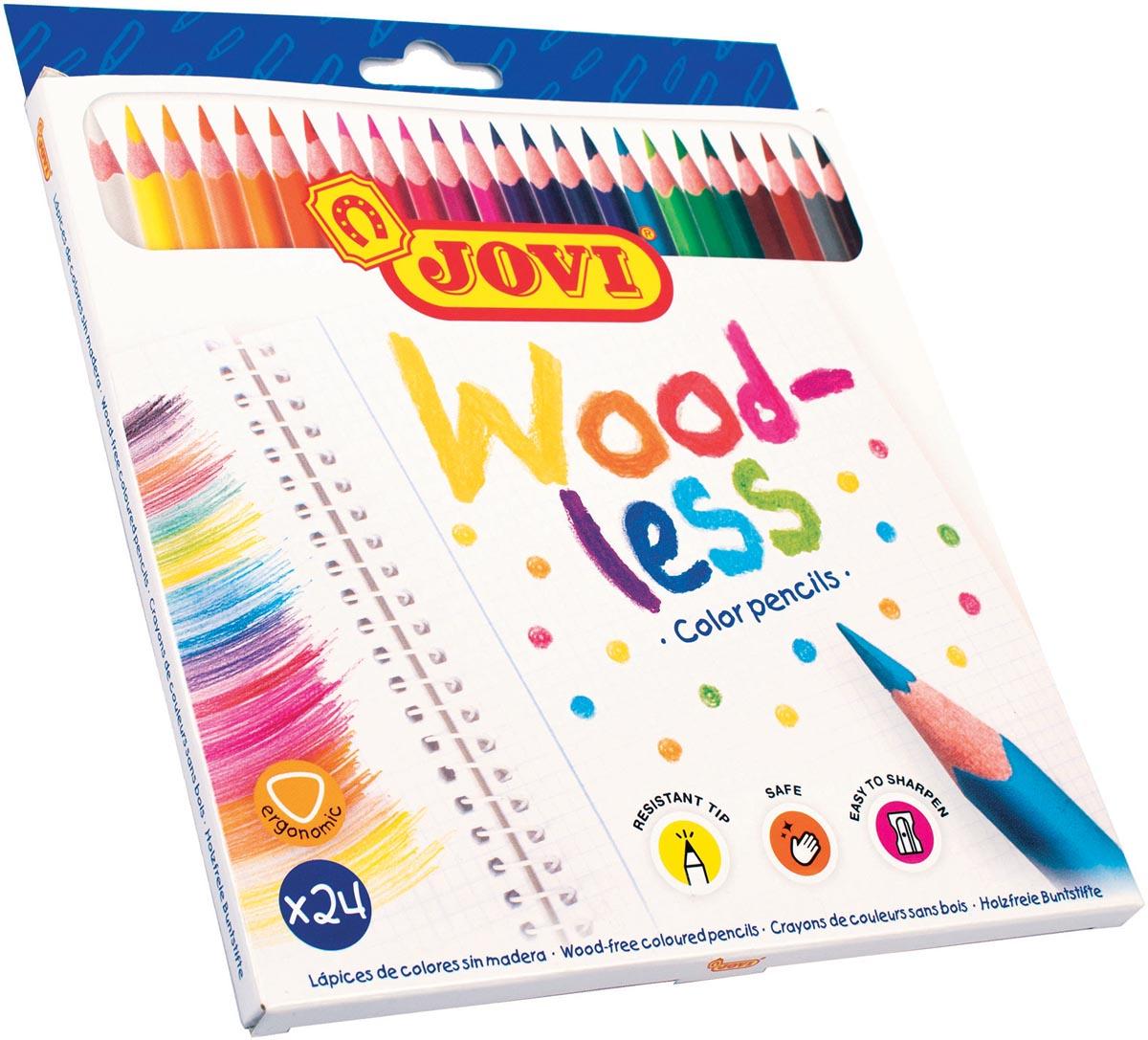 Jovi Kleurpotlood Woodless, kartonnen etui van 24 stuks