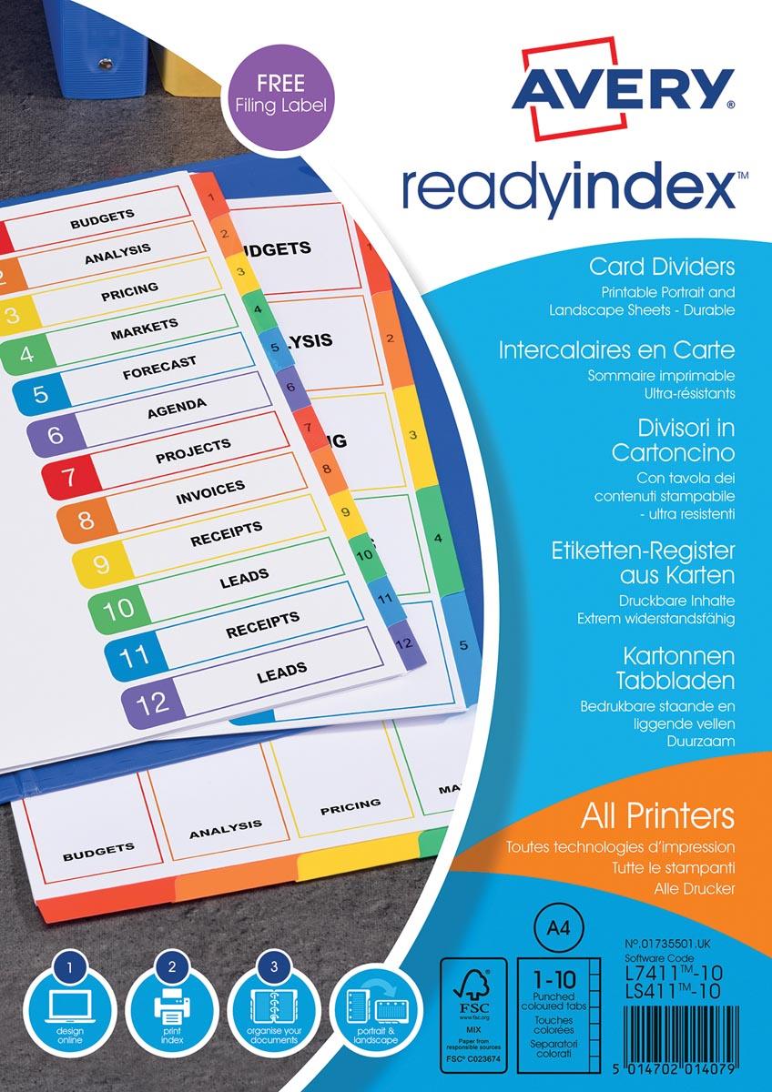 Avery ReadyIndex tabbladen uit karton met personaliseerbare tabbladen, ft A4, 10 tabs