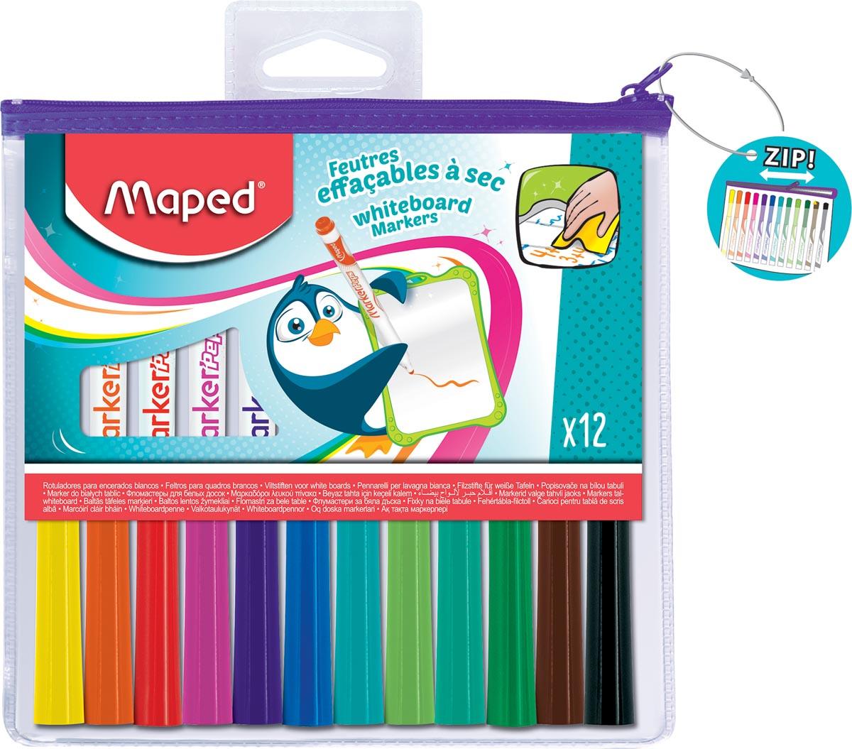 Maped Marker'Peps whiteboardmarker, etui met 12 stuks in geassorteerde kleuren