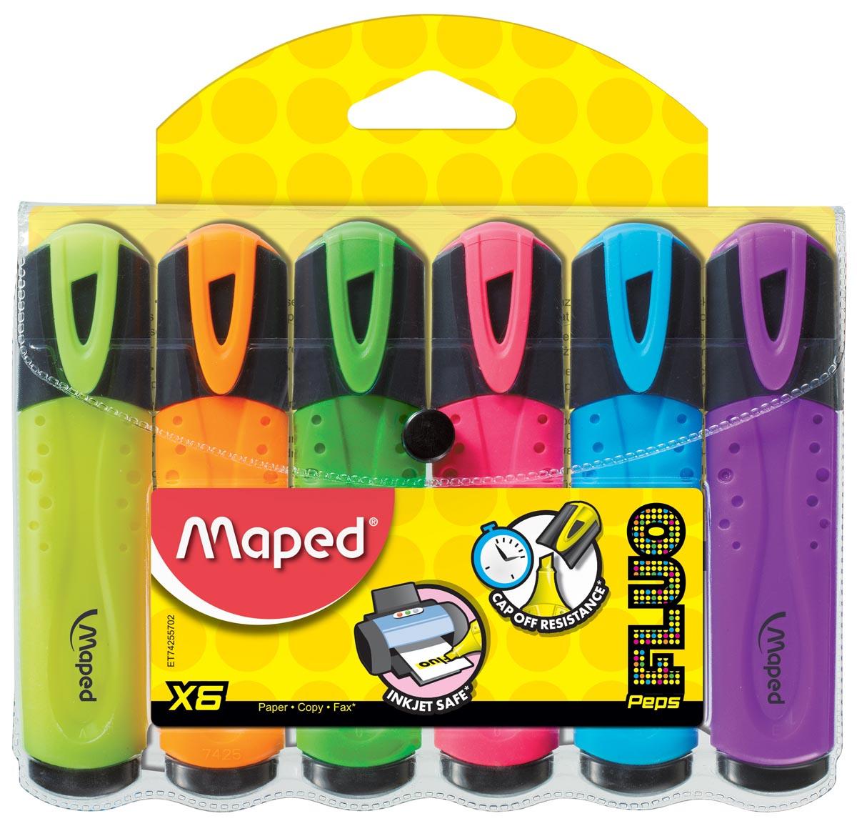 Maped markeerstift Fluo'Peps assortiment blister met 6 stuks
