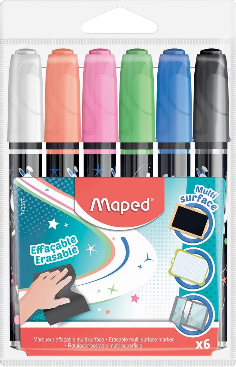Maped krijtmarker, etui met 6 stuks in geassorteerde kleuren