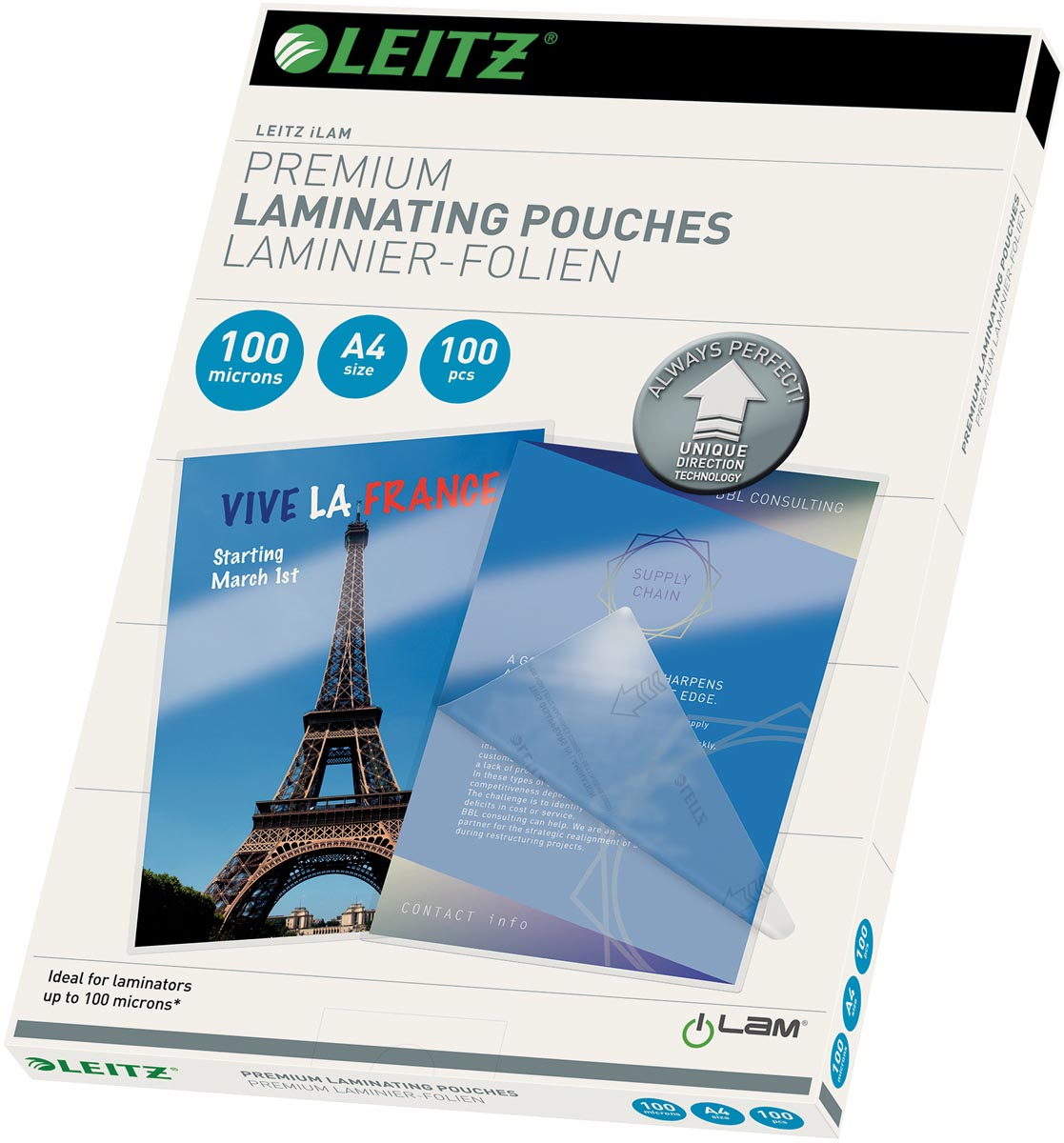 Leitz Ilam lamineerhoes ft A4, 200 micron (2 x 100 micron), pak van 100 stuks