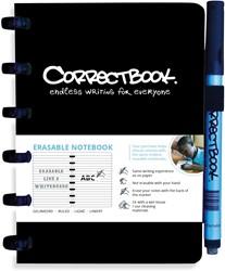 Correctbook A6 gelijnd herbruikbaar notitieboekje, zwart