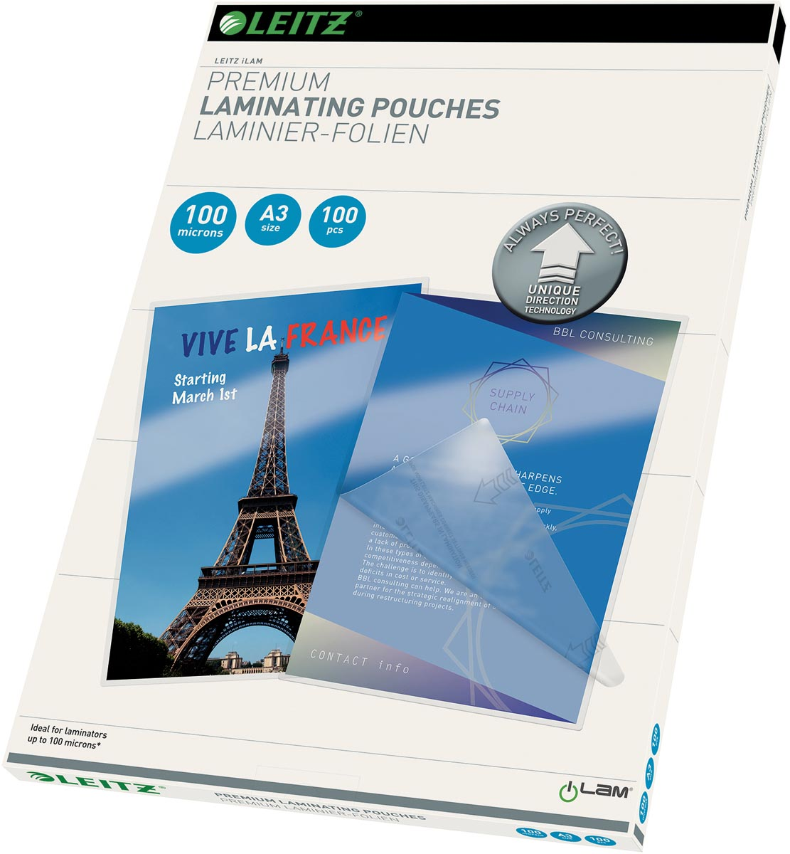 Leitz Ilam lamineerhoes ft A3, 200 micron (2 x 100 micron), pak van 100 stuks