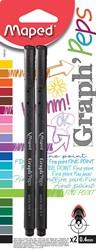 Maped Graph'Peps fineliner zwart, blister met 2 stuks