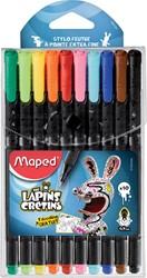 Maped Graph'Peps fineliner Lapins Cretins, blister met 10 stuks in geassorteerde kleuren