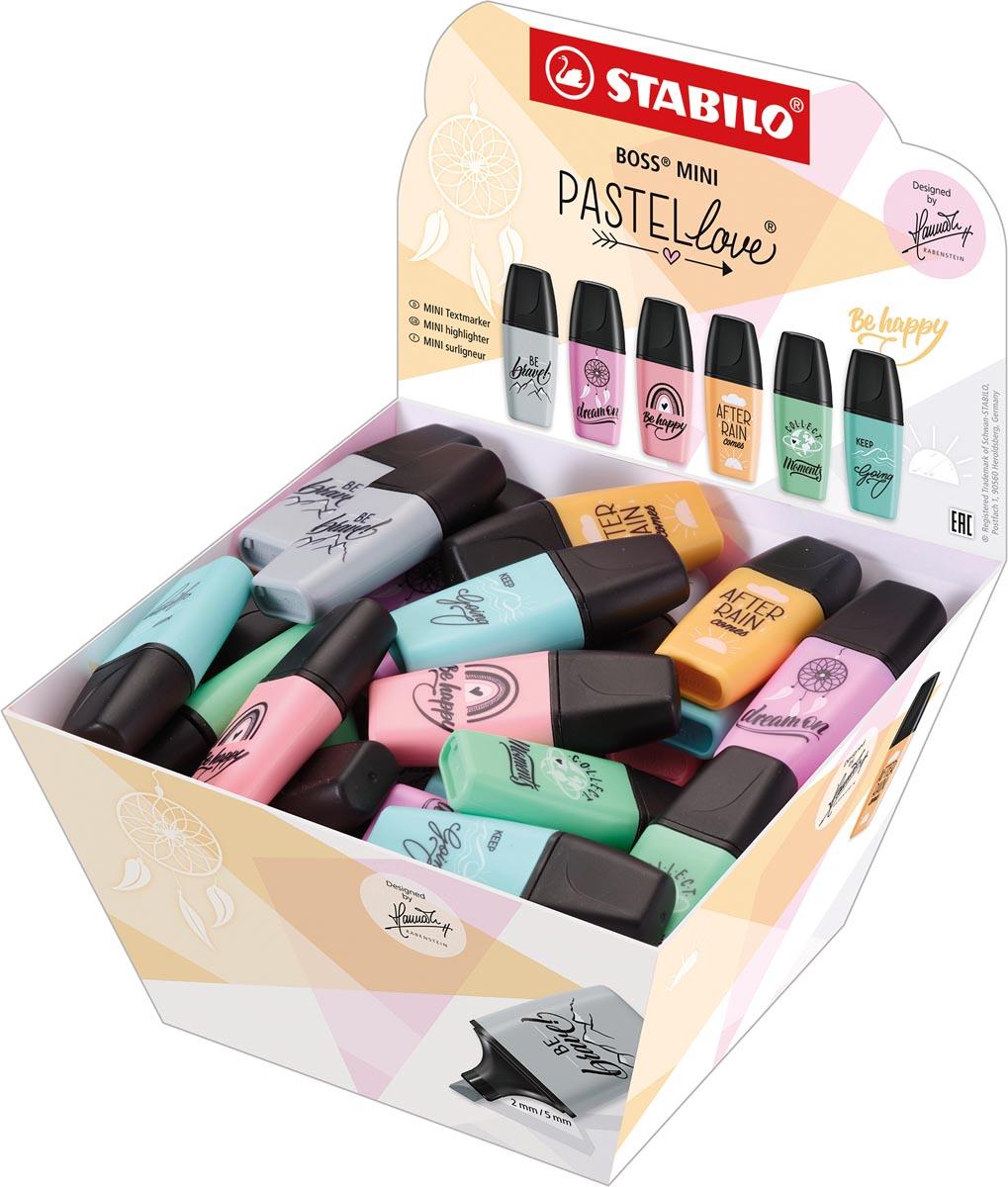 STABILO BOSS MINI Pastellove markeerstift, display van 50 stuks in geassorteerde pastelkleuren