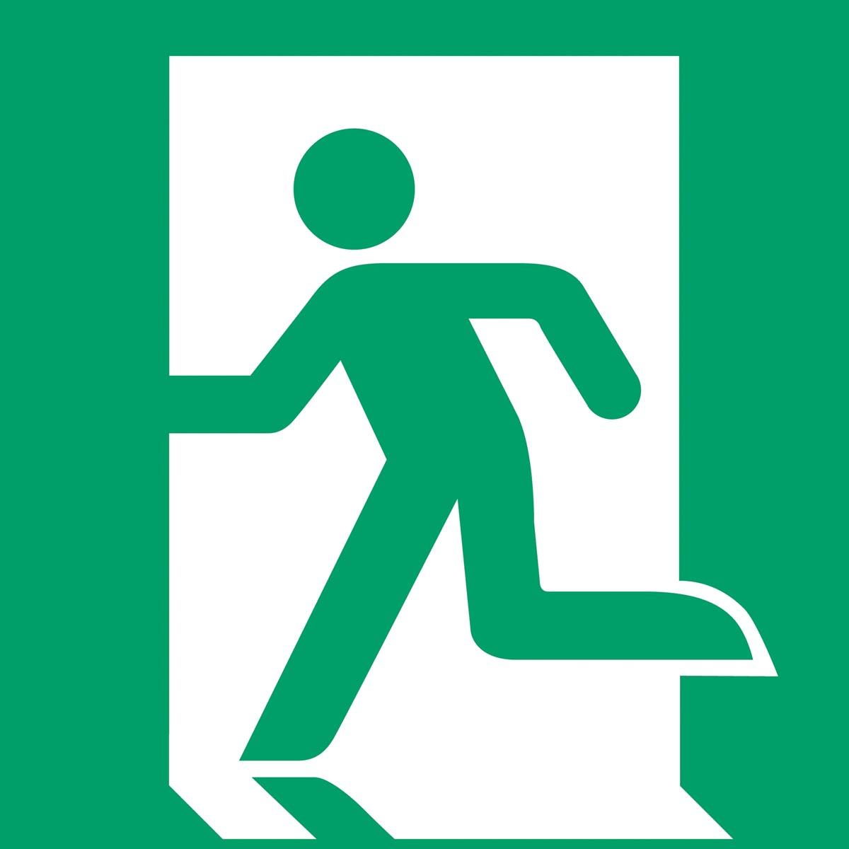 Tarifold evacuatiebord uit PP, nooduitgang links, ft 20 x 20 cm