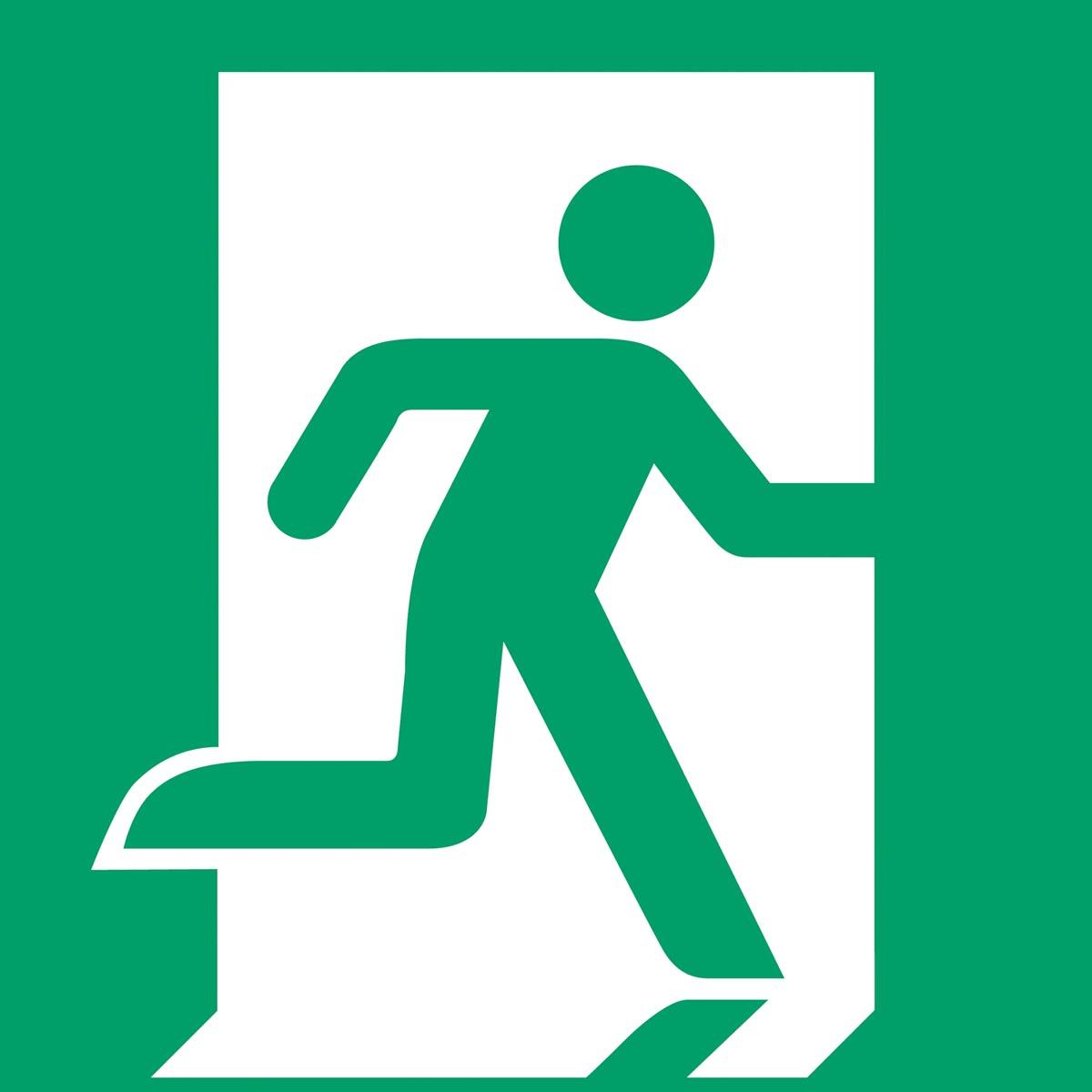 Tarifold evacuatiebord uit PP, nooduitgang rechts, ft 20 x 20 cm