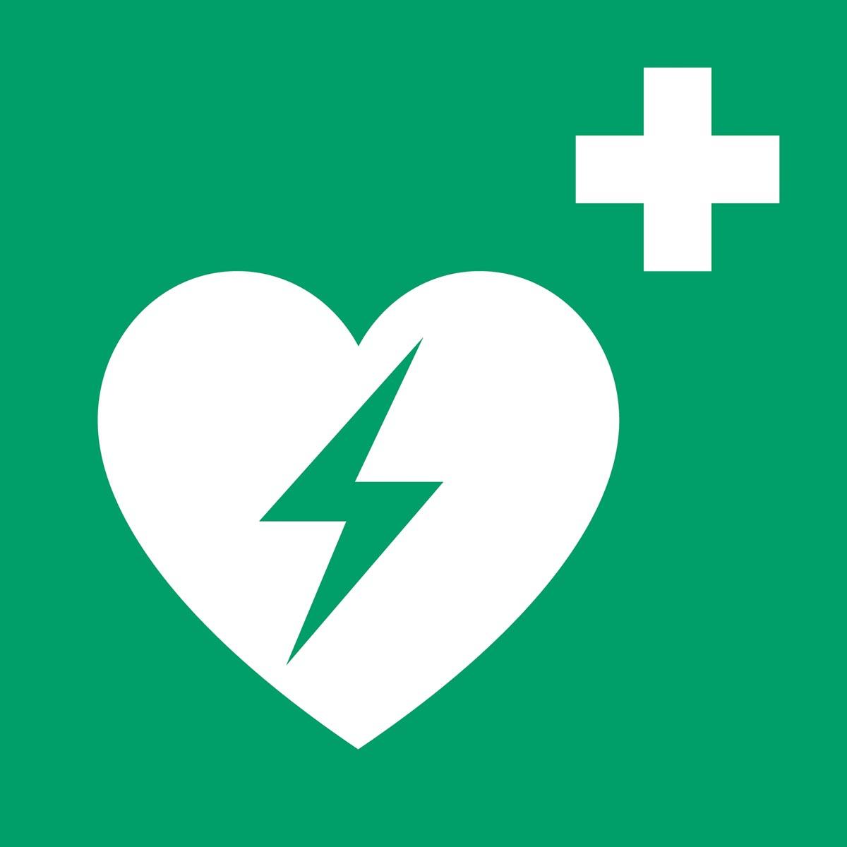 "Tarifold evacuatiebord uit PP, AED ""geautomatiseerde externe defibrillator"", ft 20 x 20 cm"