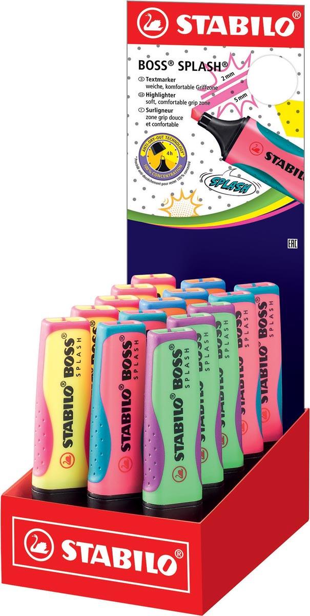 STABILO BOSS SPLASH markeerstift, display van 15 stuks in geassorteerde kleuren