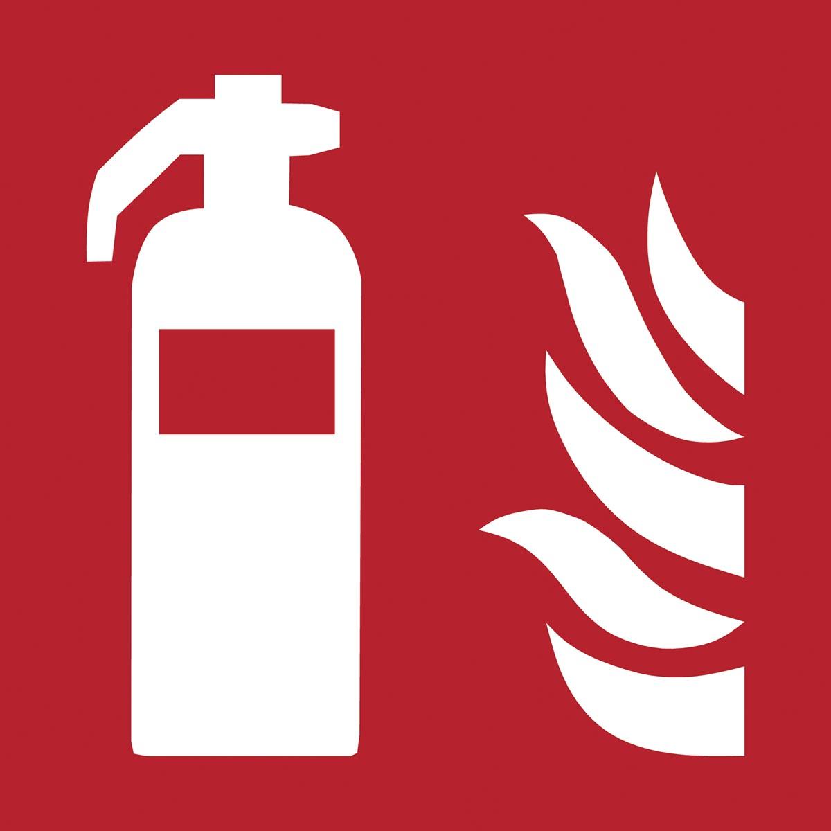Tarifold brandveiligheidsbord uit PP, brandblusser, ft 20 x 20 cm