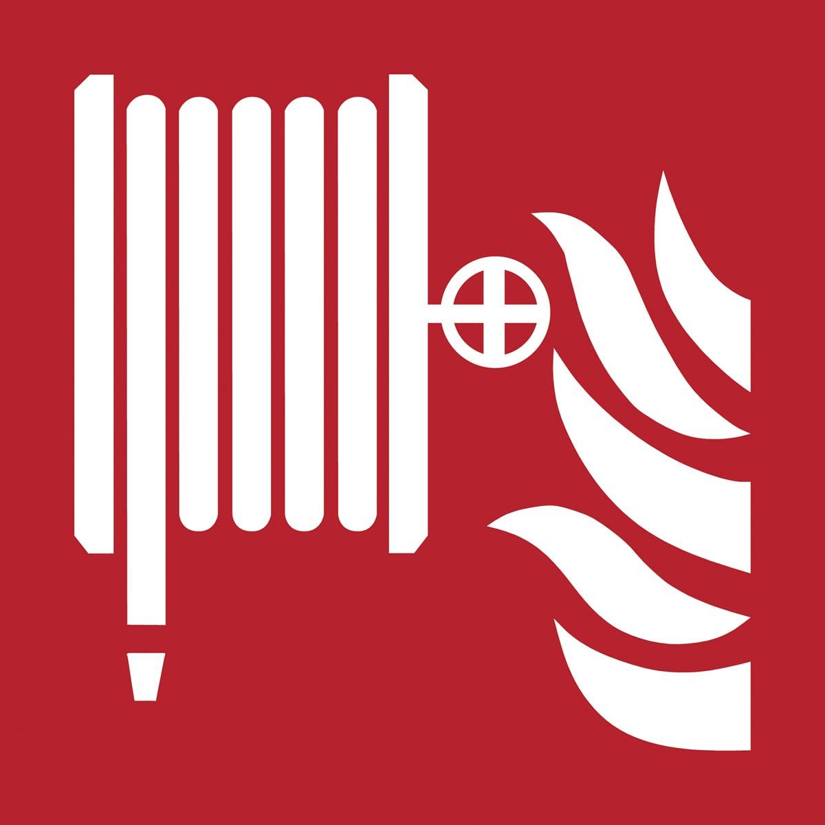 Tarifold brandveiligheidsbord uit PP, brandhaspel met vlammen, ft 20 x 20 cm