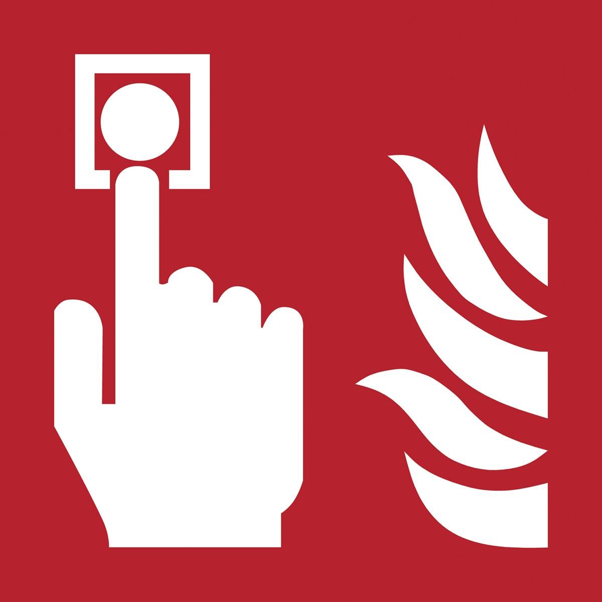 Tarifold brandveiligheidsbord uit PP, brandmelder, ft 20 x 20 cm