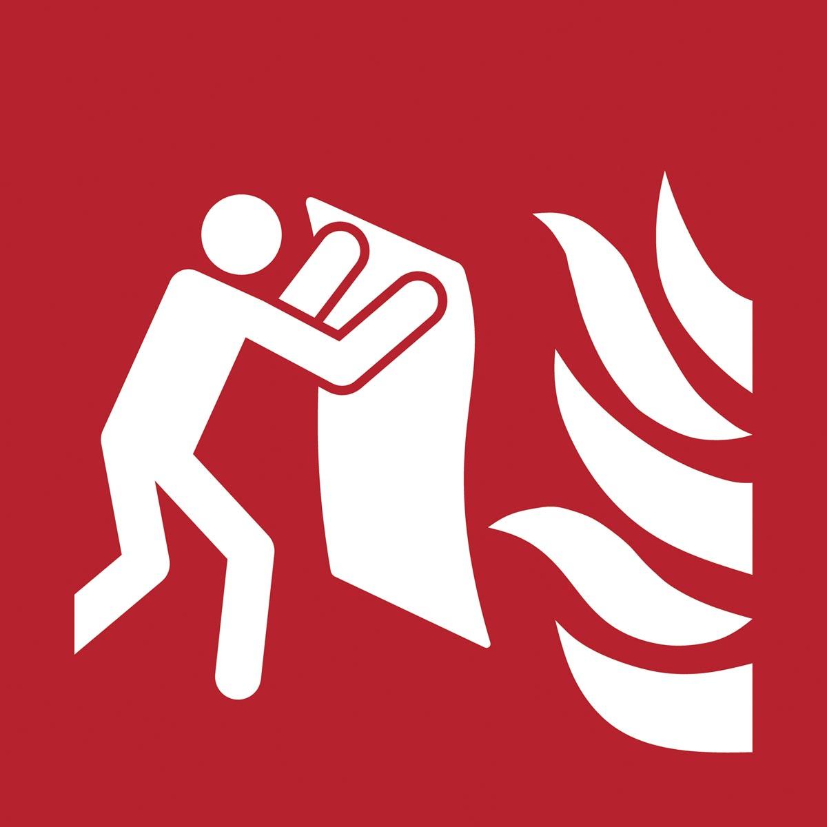 Tarifold brandveiligheidsbord uit PP, branddeken, ft 20 x 20 cm