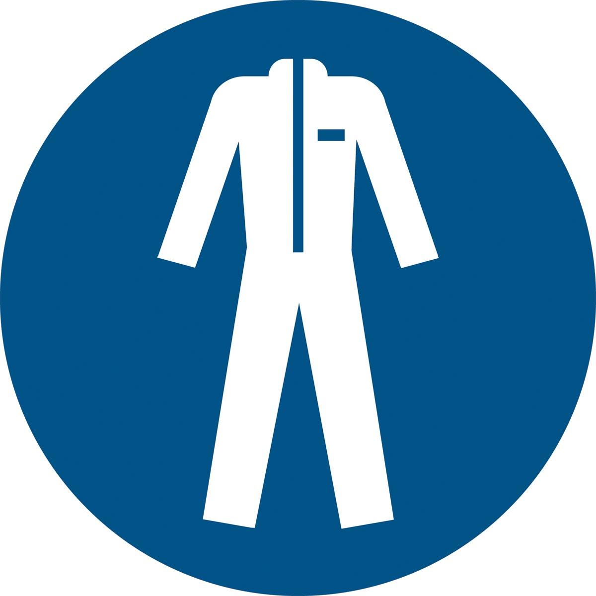 Tarifold gebodsbord uit PP, beschermende werkkleding verplicht, diameter 20 cm