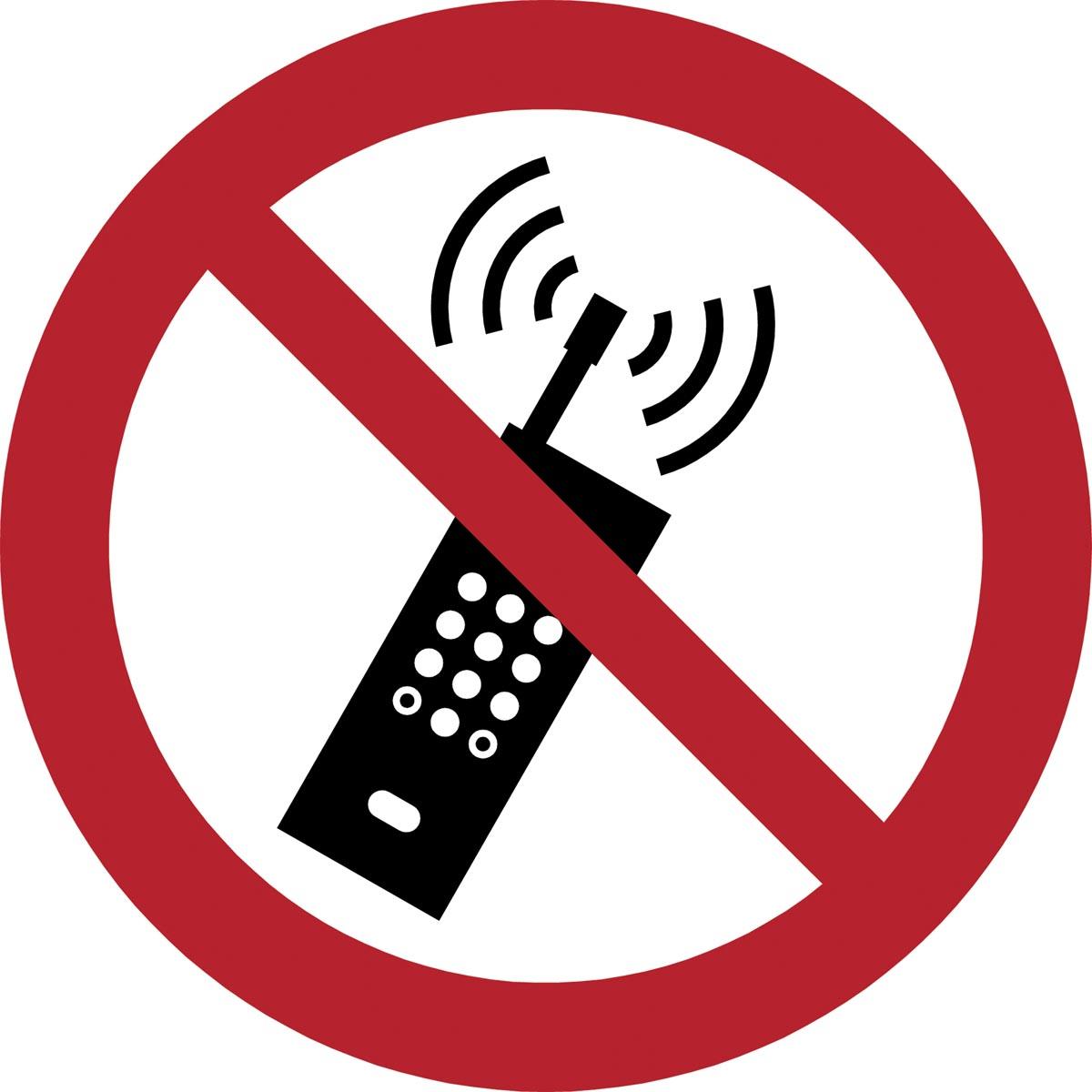Tarifold verbodsbord uit PP, mobiele telefoon verboden, diameter 20 cm