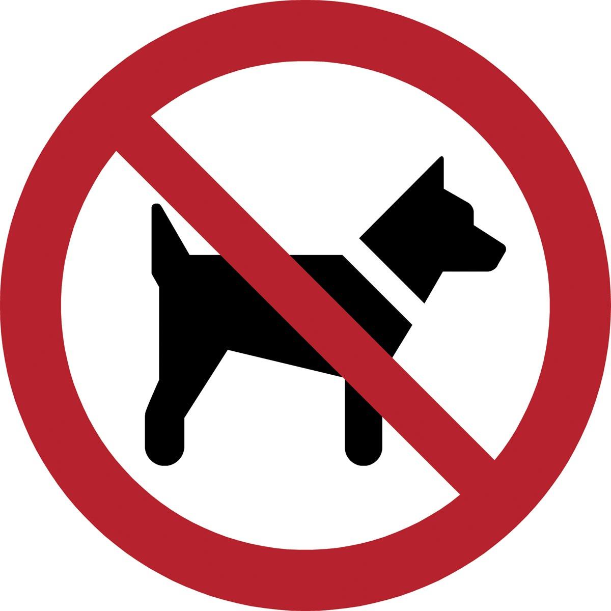 Tarifold verbodsbord uit PP, honden niet toegestaan, diameter 20 cm