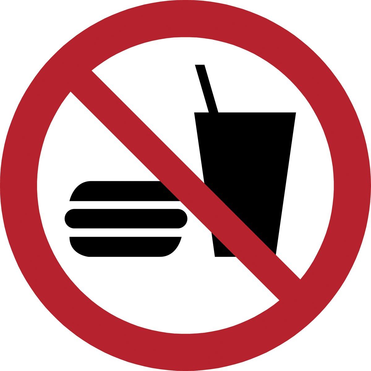 Tarifold verbodsbord uit PP, eten en drinken niet toegestaan, diameter 20 cm