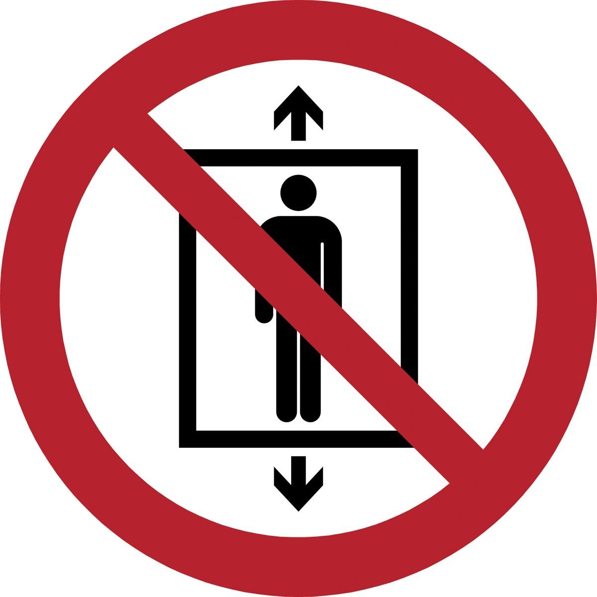 Tarifold verbodsbord uit PP, verboden lift te gebruiken door personen, diameter 20 cm