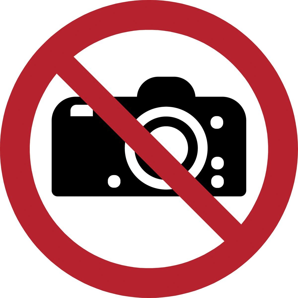 Tarifold verbodsbord uit PP, verboden te fotograferen, diameter 20 cm