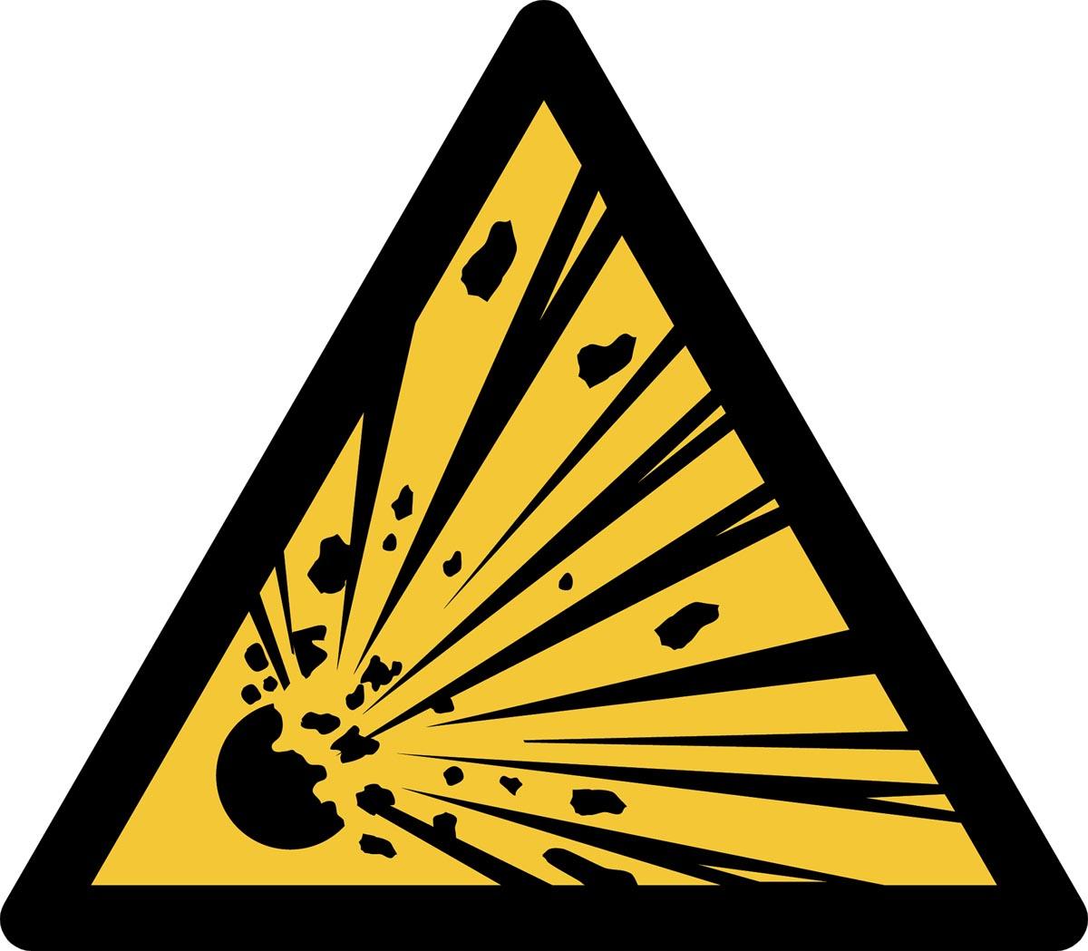 Tarifold waarschuwingsbord uit PP, explosiegevaar, ft 20 x 17,6 cm