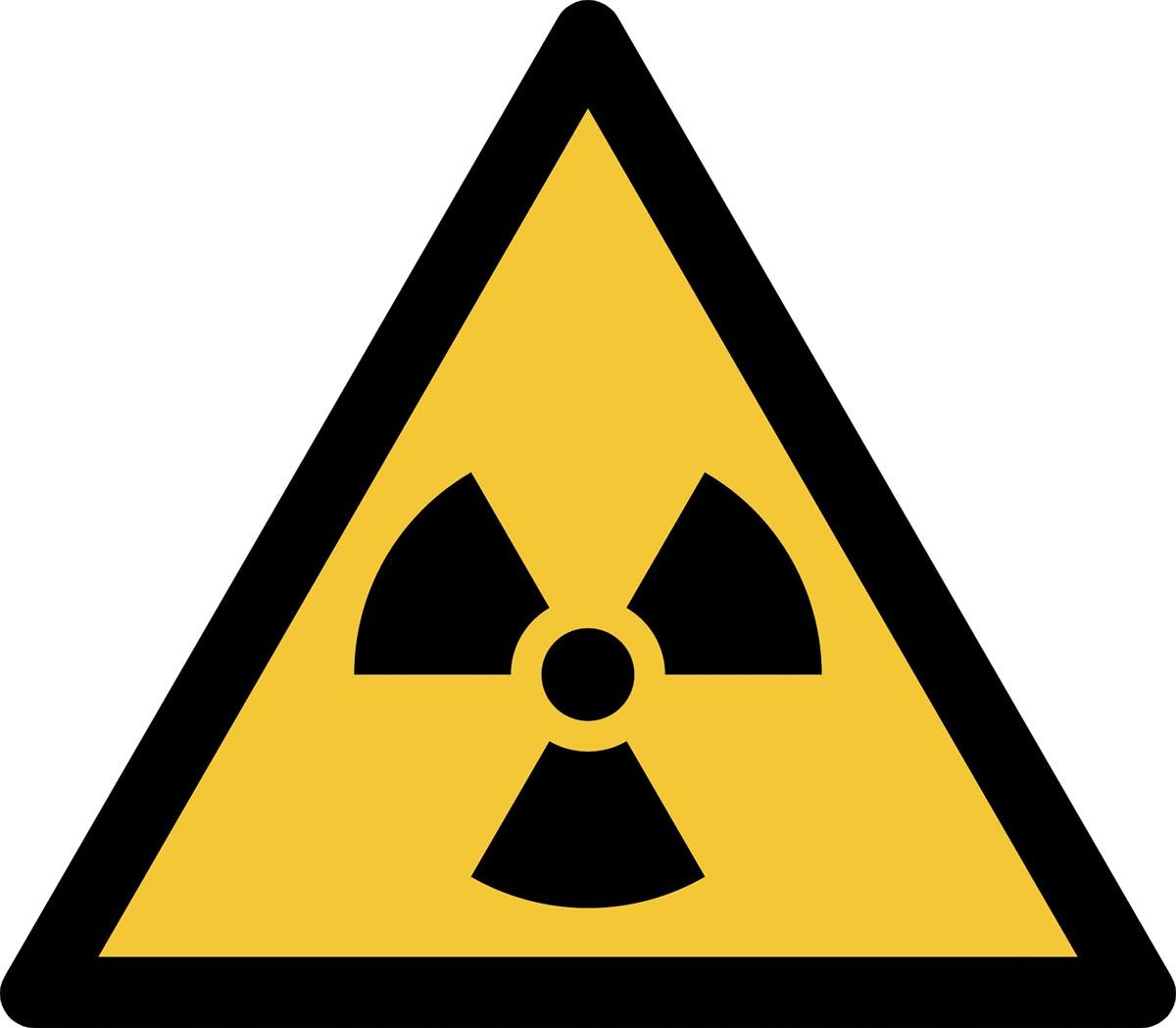 Tarifold waarschuwingsbord uit PP, gevaar voor radioactief materiaal, ft 20 x 17,6 cm