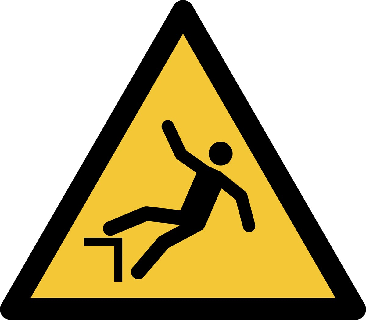 Tarifold waarschuwingsbord uit PP, valgevaar door hoogteverschil, ft 20 x 17,6 cm