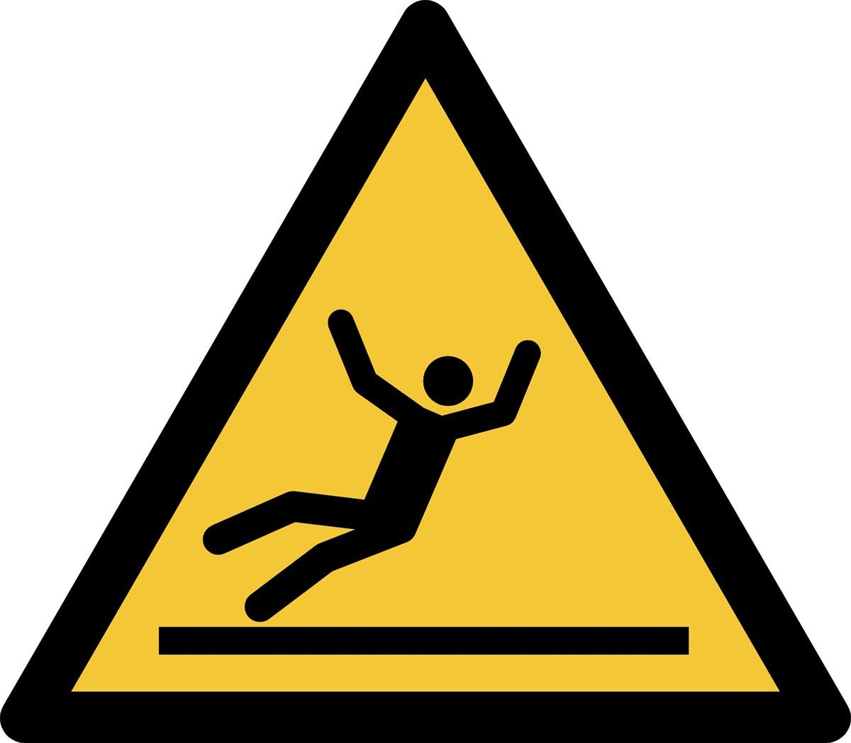 Tarifold waarschuwingsbord uit PP, gevaar voor glad oppervlak, ft 20 x 17,6 cm